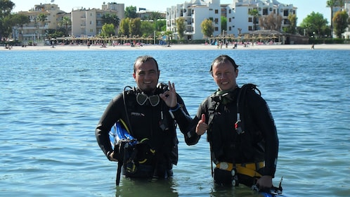 Two men on a diving adventure in Alcudia