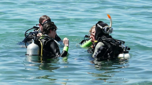 Tourists and guide getting ready for a dive in Alcudia
