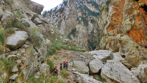Stunning view of tourists Trekking in Torrent de Pareis