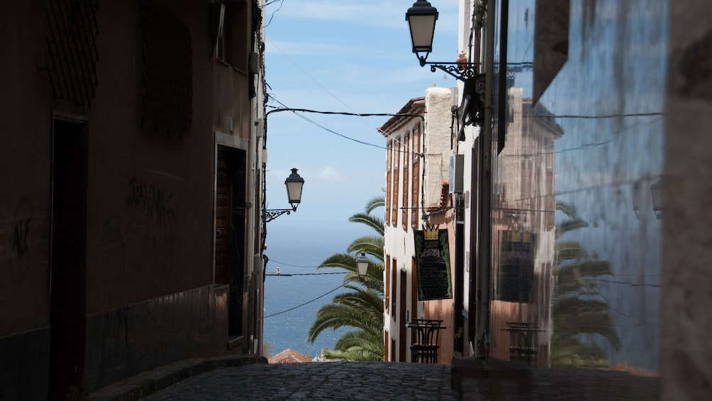 view of the water from a street in Tenerife