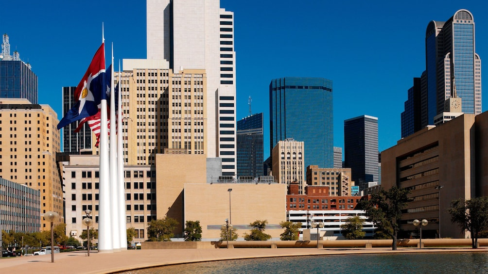 Show item 3 of 5. View of Dallas from a park