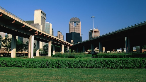 Green park with the Dallas skyline in the background