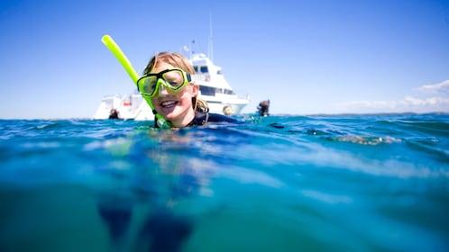Scuba diver coming up for air in the Mornington Peninsula.