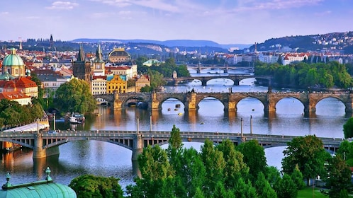 Multiple bridges crossing the Vltava River in Prague