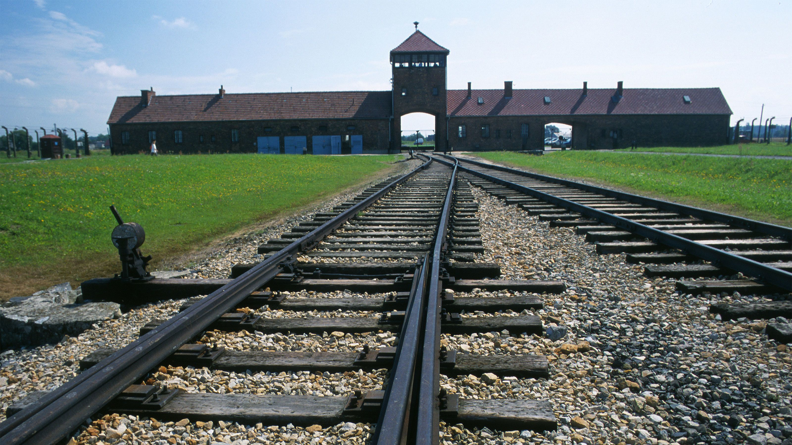 railroad tracks leading into Auschwitz