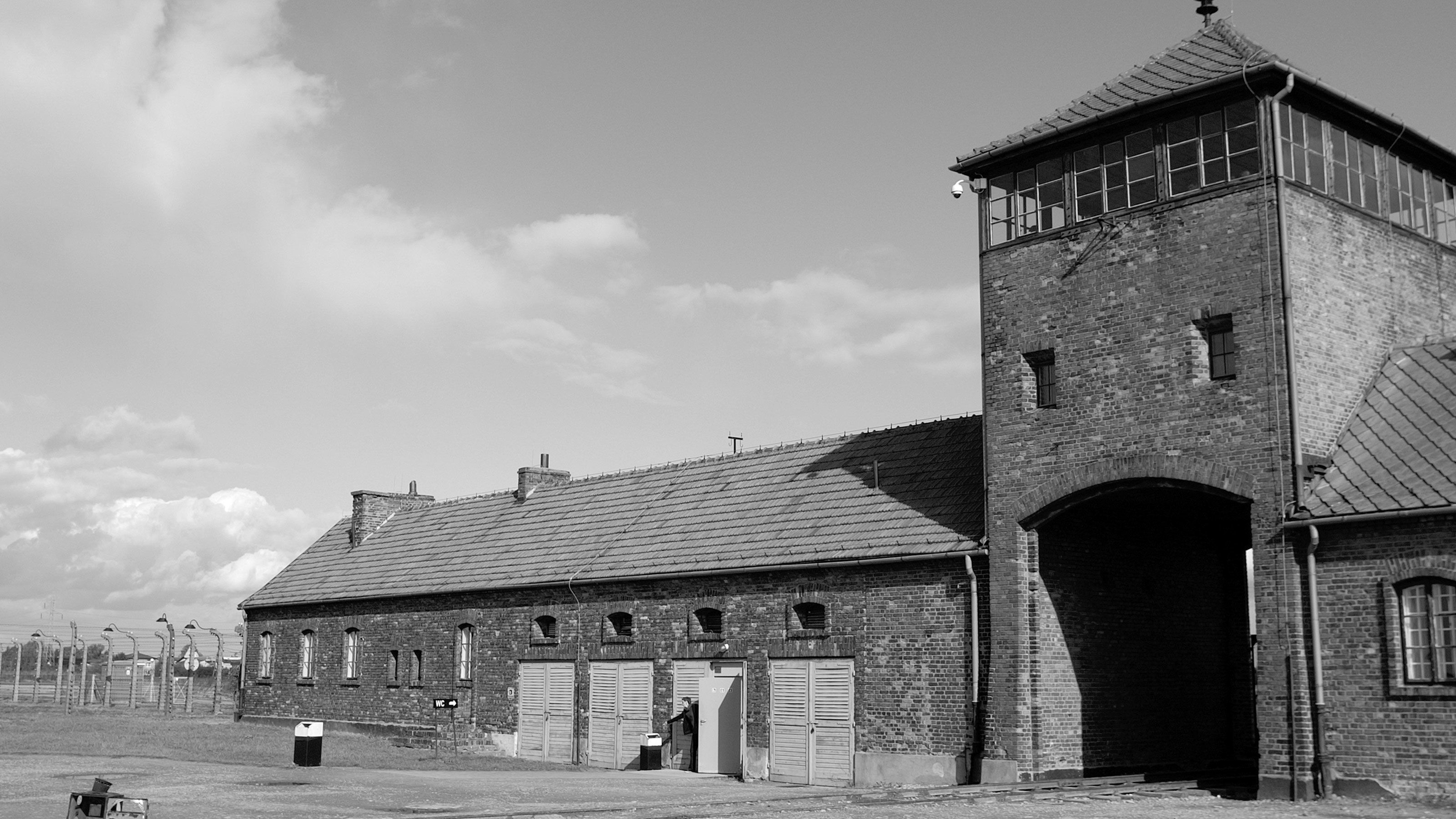 An old guard tower in Auschwitz