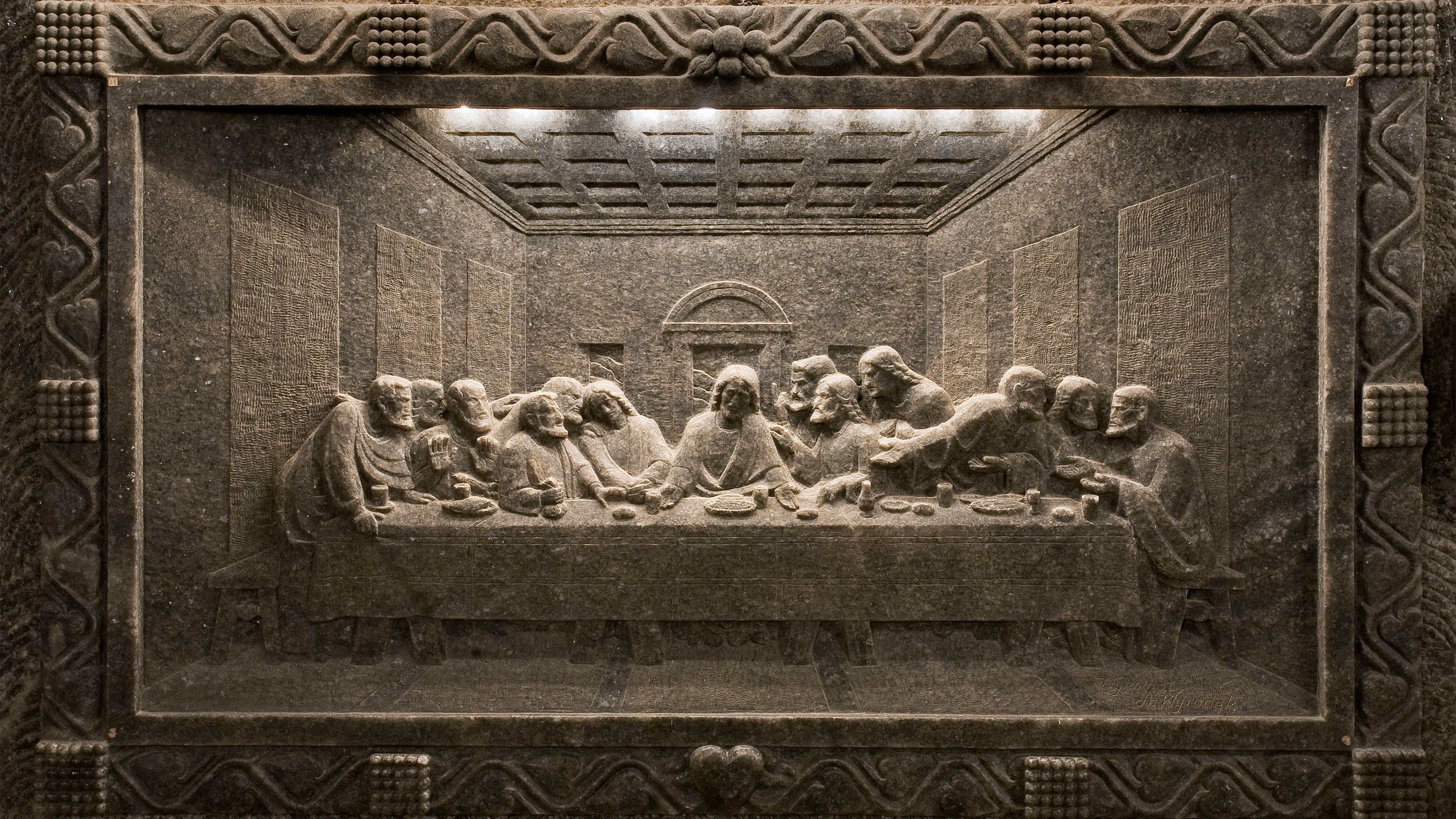 A relief sculpture of the last supper in Wieliczka