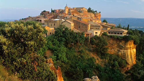 Hilltop town and red cliffs of Roussillon