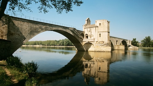 Medieval bridge Pont Saint-Bénézet in the town of Avignon