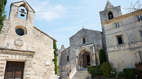 Buildings of ancient church and cathedral in village Les Baux de Provence