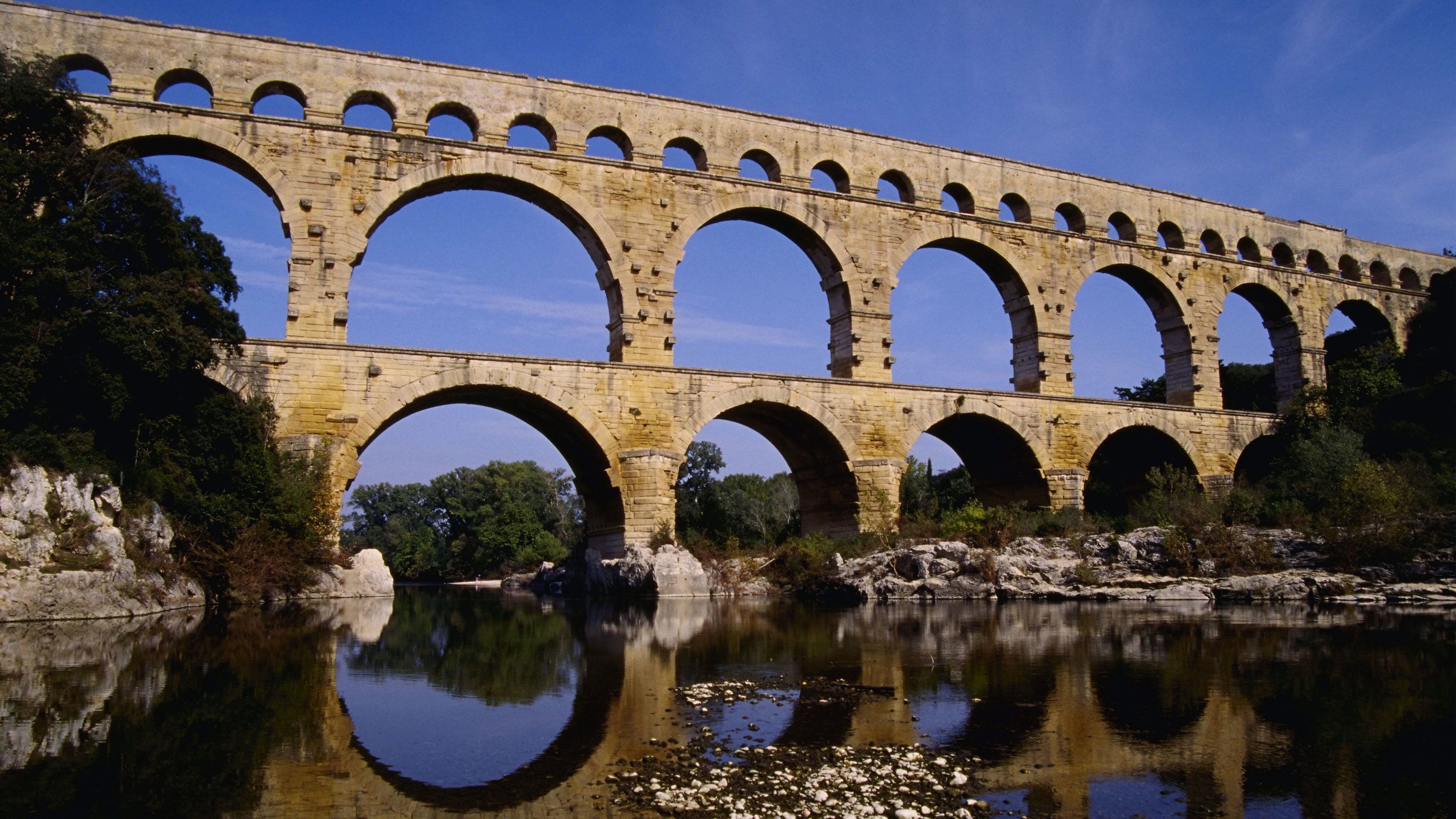 View of the Pont du Gard Aqueduct in Vers-Pont-du-Gard, France