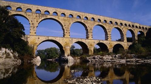 View of the Pont du Gard Aqueduct in Vers-Pont-du-Gard, France