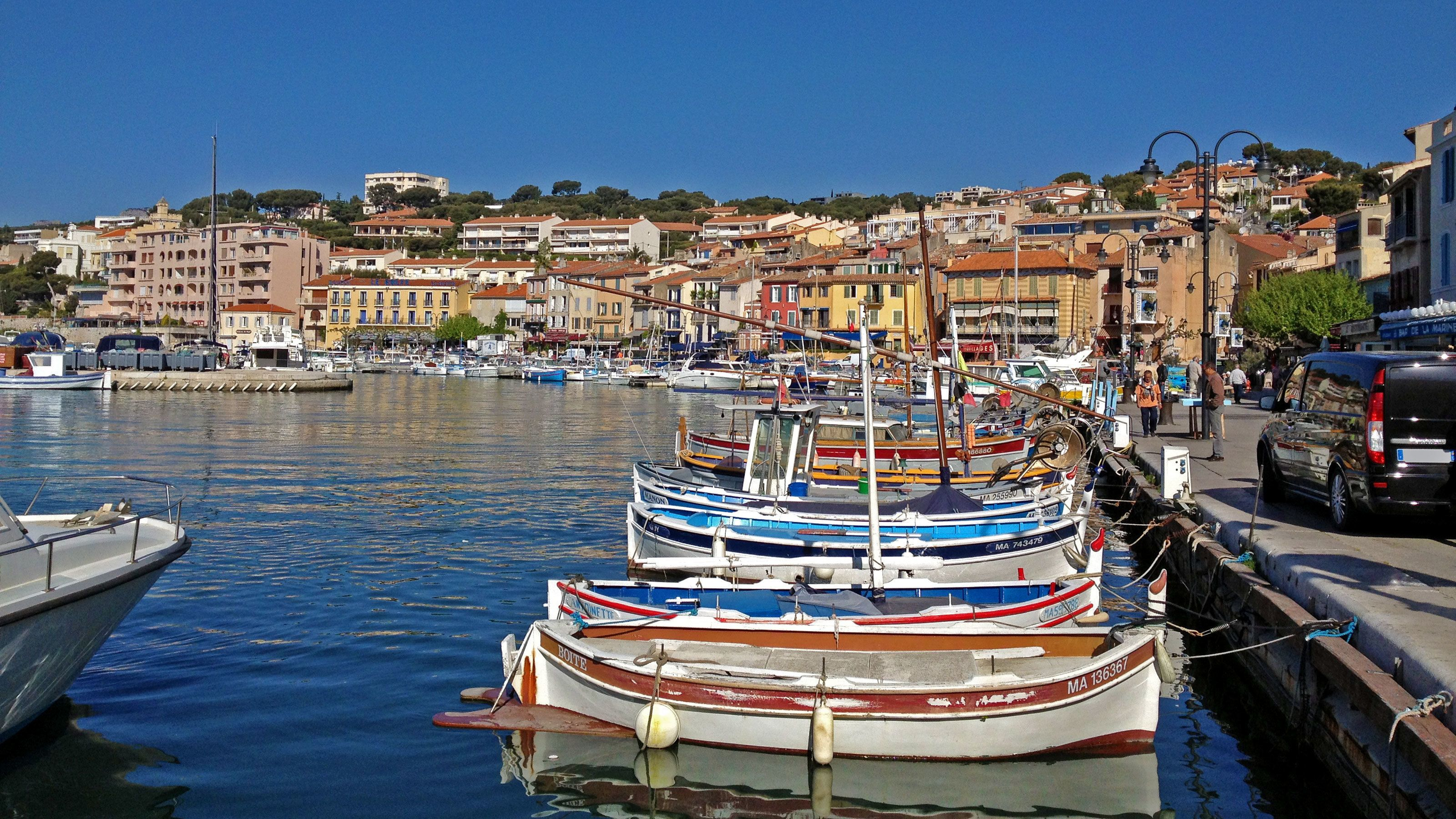 Boats docked at the harbor in Cassis