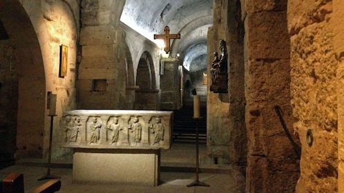 Altar inside the crypt at the Abbey of St Victory in Marseille