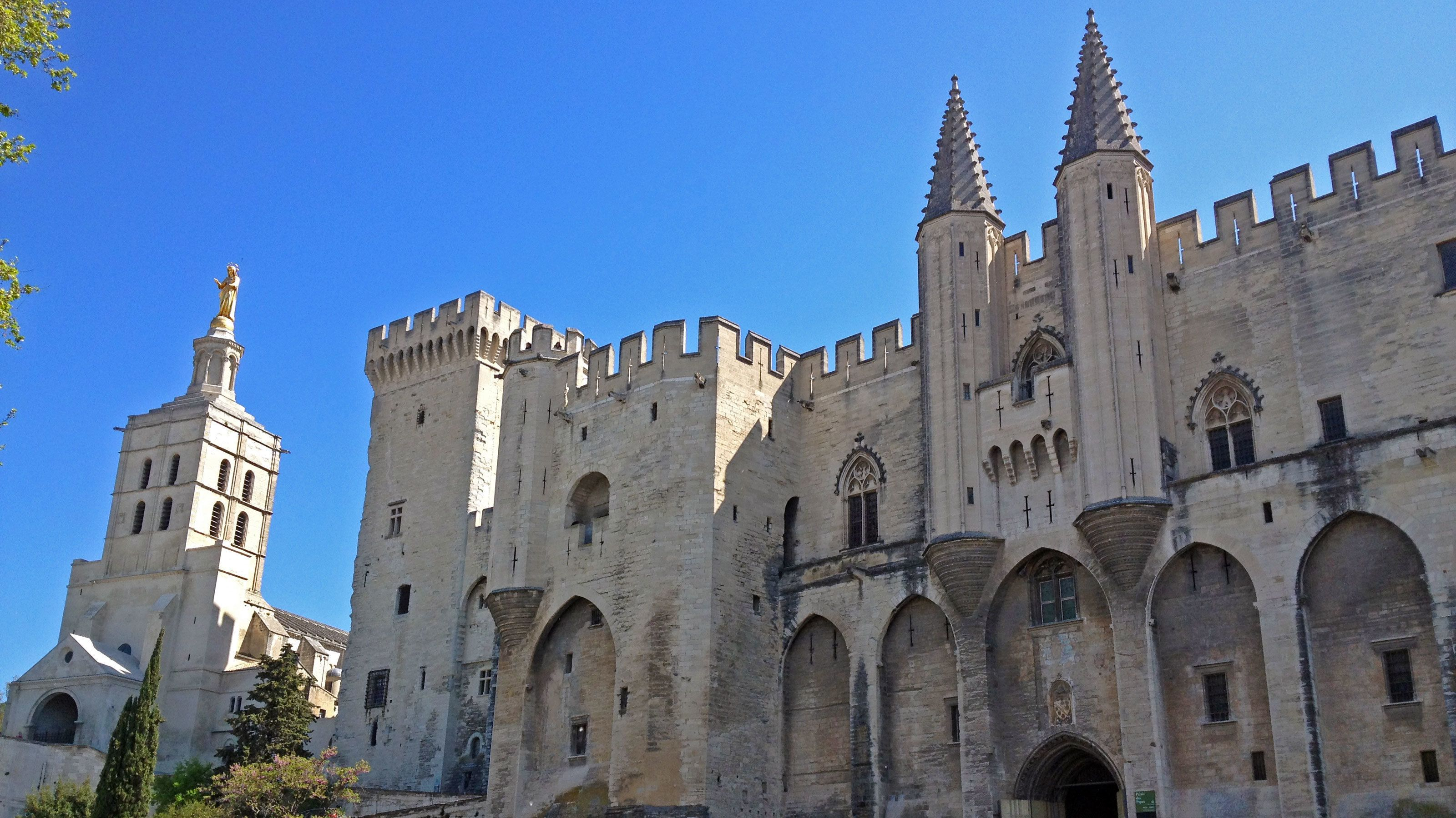 Medieval Gothic structure of Palais des Papes in Avignon