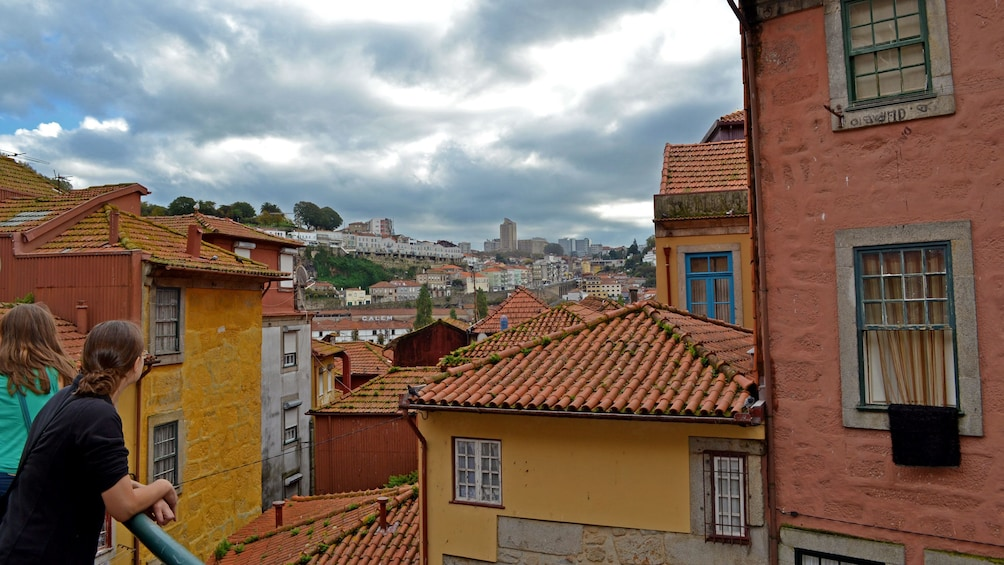 Show item 1 of 6. Tour group looking out at the red rooftops of Porto