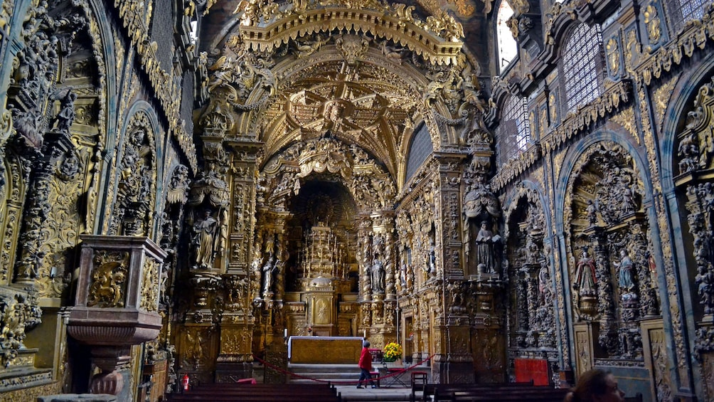 Show item 3 of 6. Ornate interior of a gothic cathedral in Porto