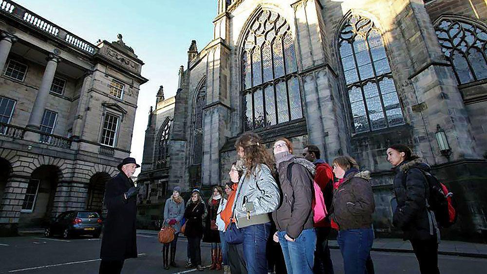 Tour group exploring in edinburgh
