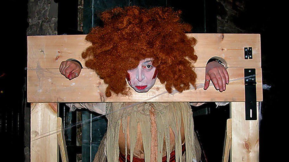 clown in stocks in Edinburgh