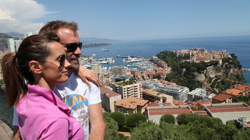 Couple enjoying the scenery from high up in Monaco