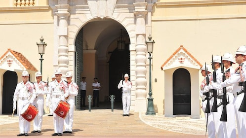 Guards marching outside of Prince's Palace of Monaco