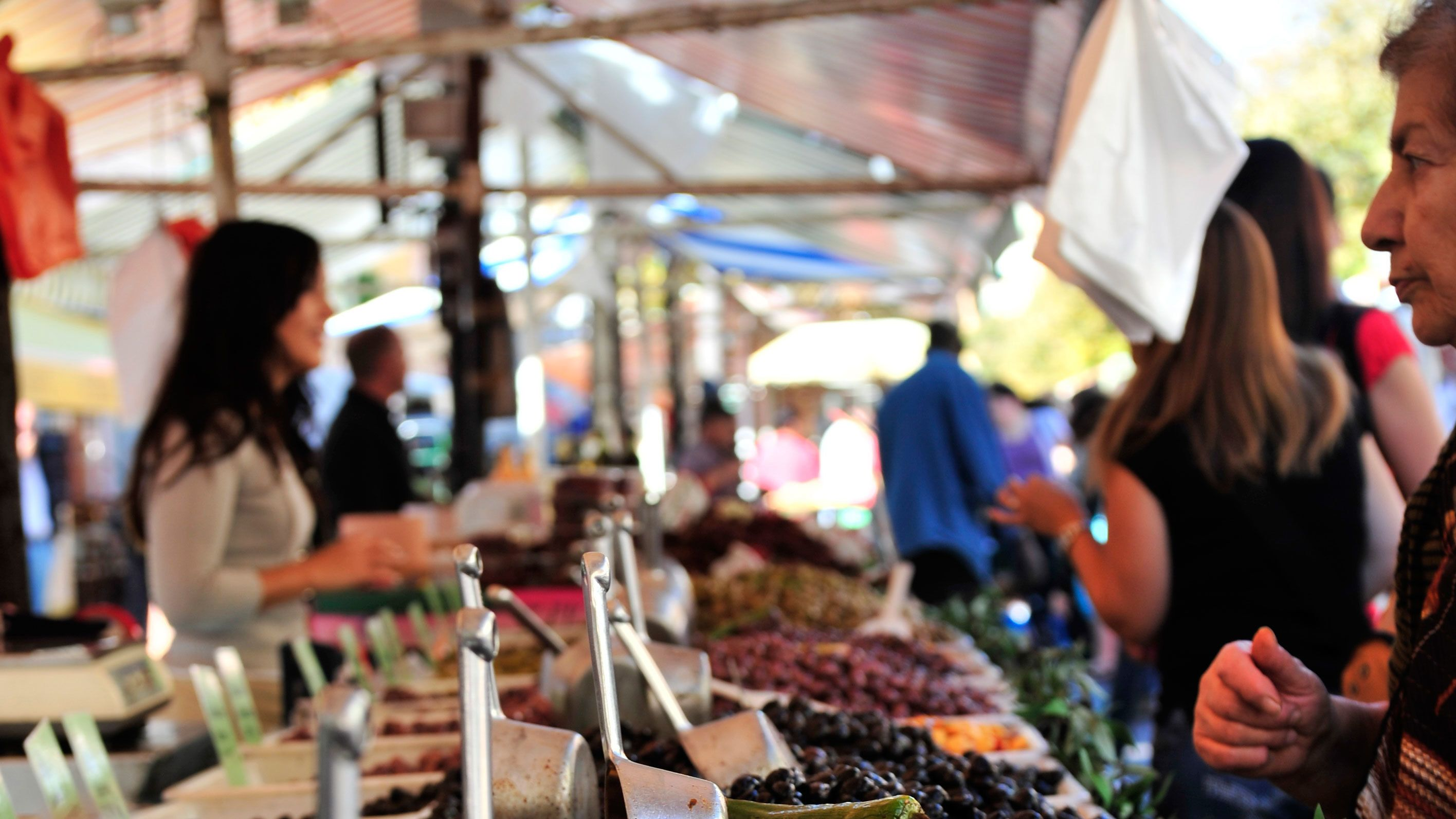 Visiting a street market in Cannes