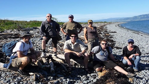 seven friends gather together on rocky beach of Wellington