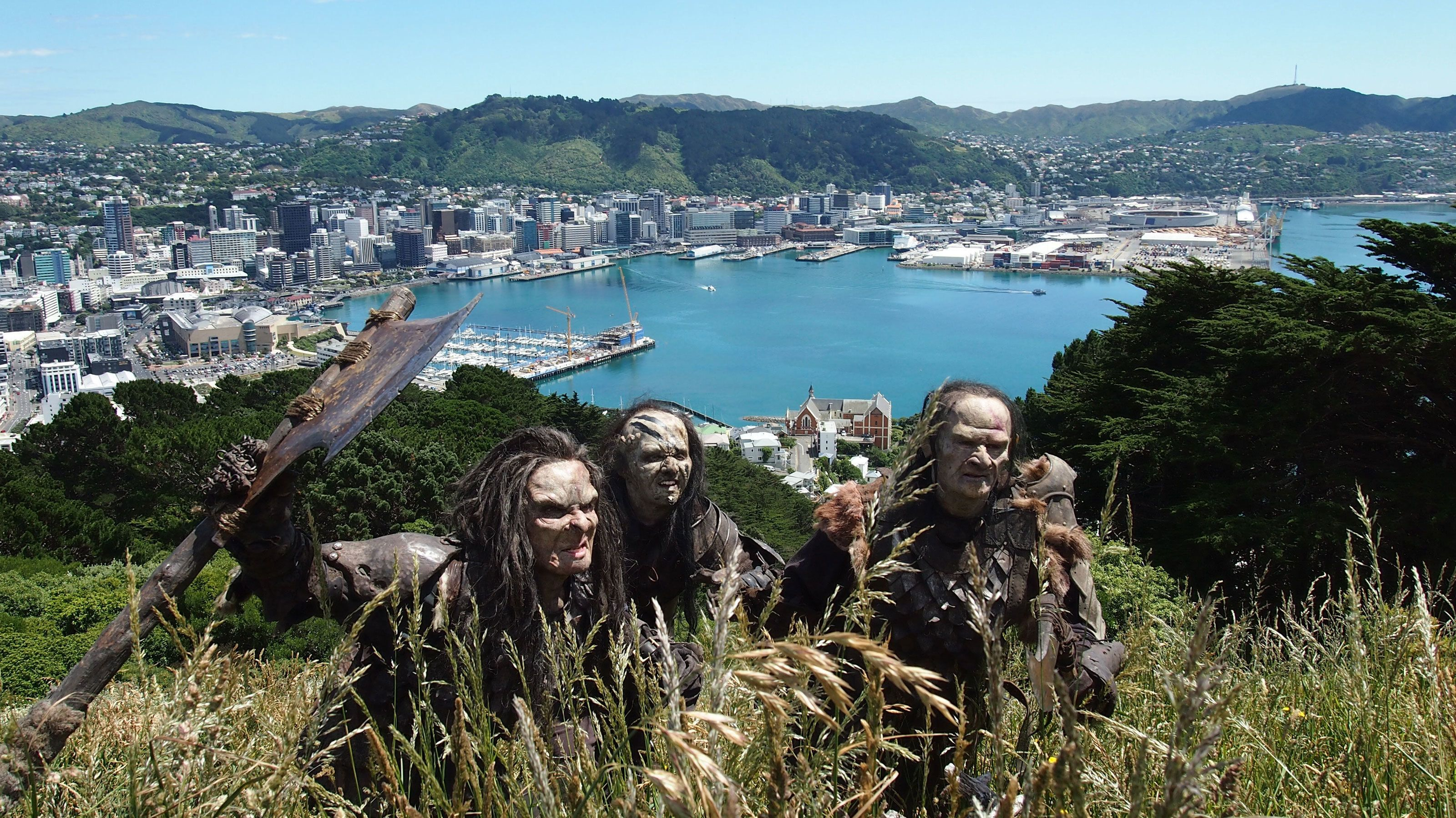 character actors in orc costume above the town of Wellington