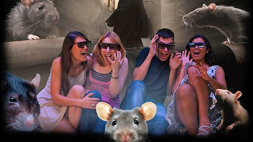 Screaming Time Travel Vienna audience members wearing 3D glasses and surrounded by virtual rats in Vienna