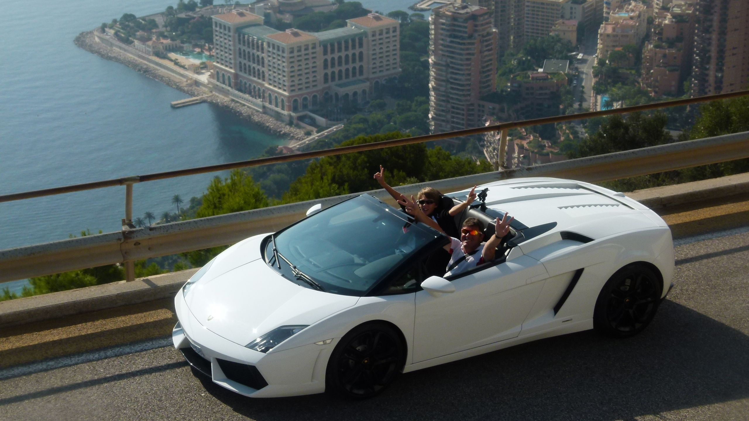 Guests driving a Lamborghini in Monaco