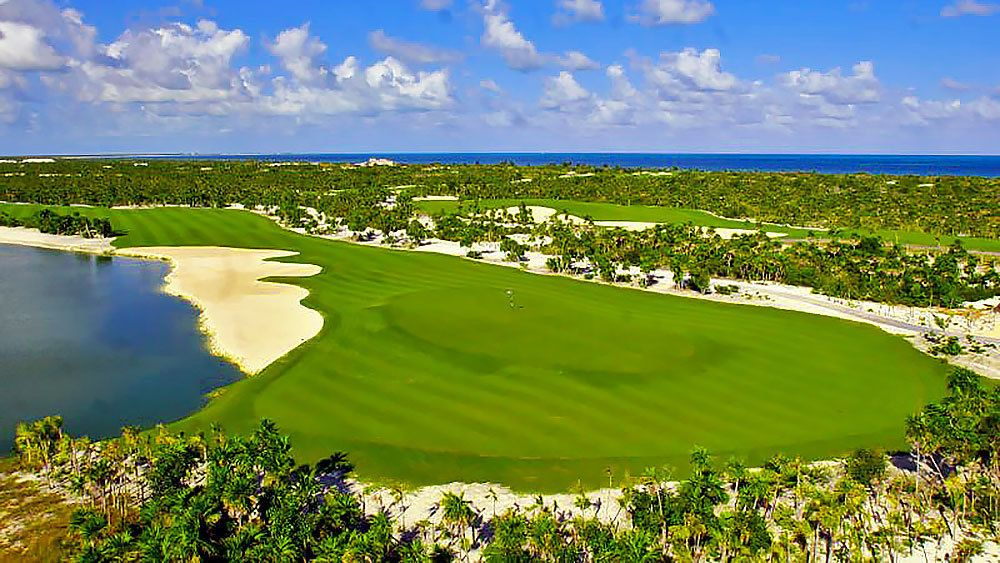 Vibrant greens of a golf course in Mexico