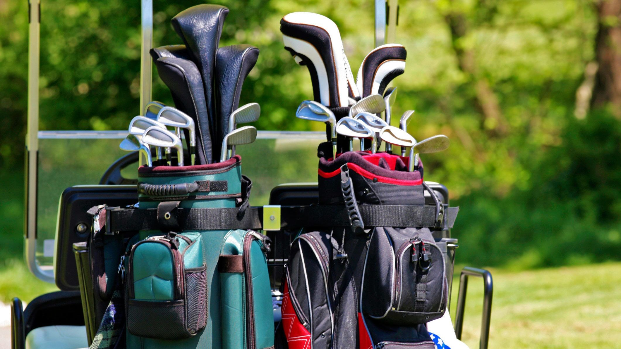 Golf clubs on a golf course in Mexico