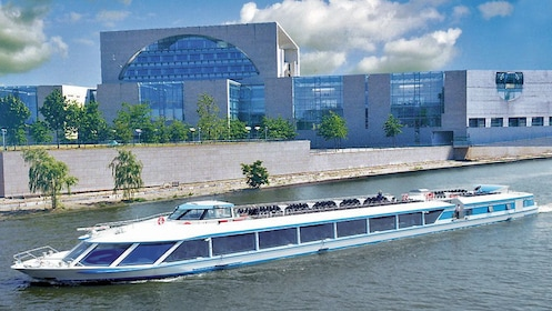 Cruise boat sailing down the Spree river in Berlin