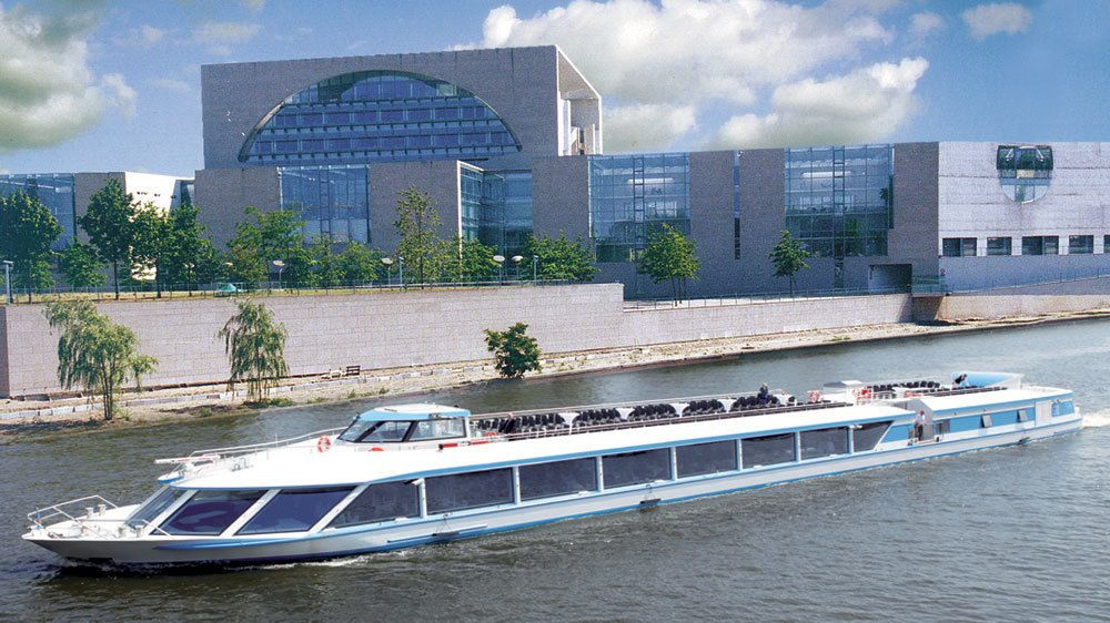 A modern building on the banks of the Spree river in Berlin