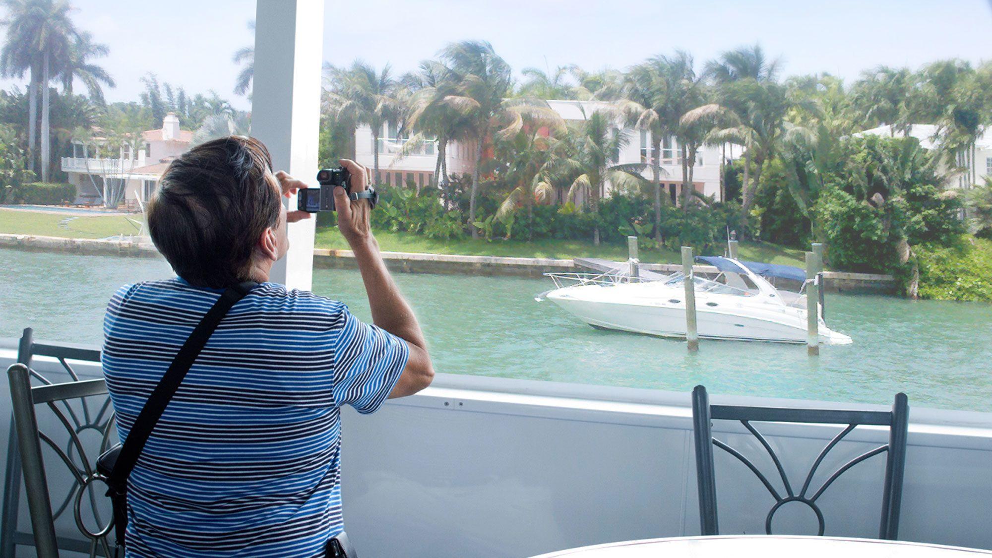Recording the boat ride in Miami