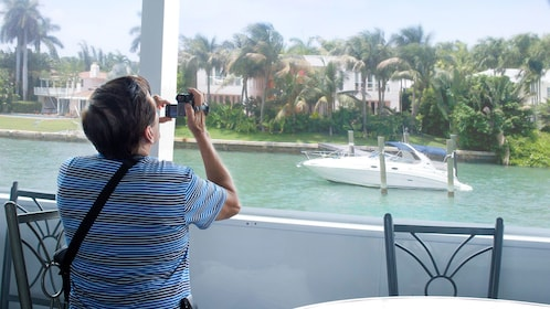 Recording the boat ride in Miami