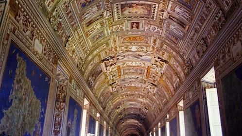 Peer down the grand hallways of the Vatican.