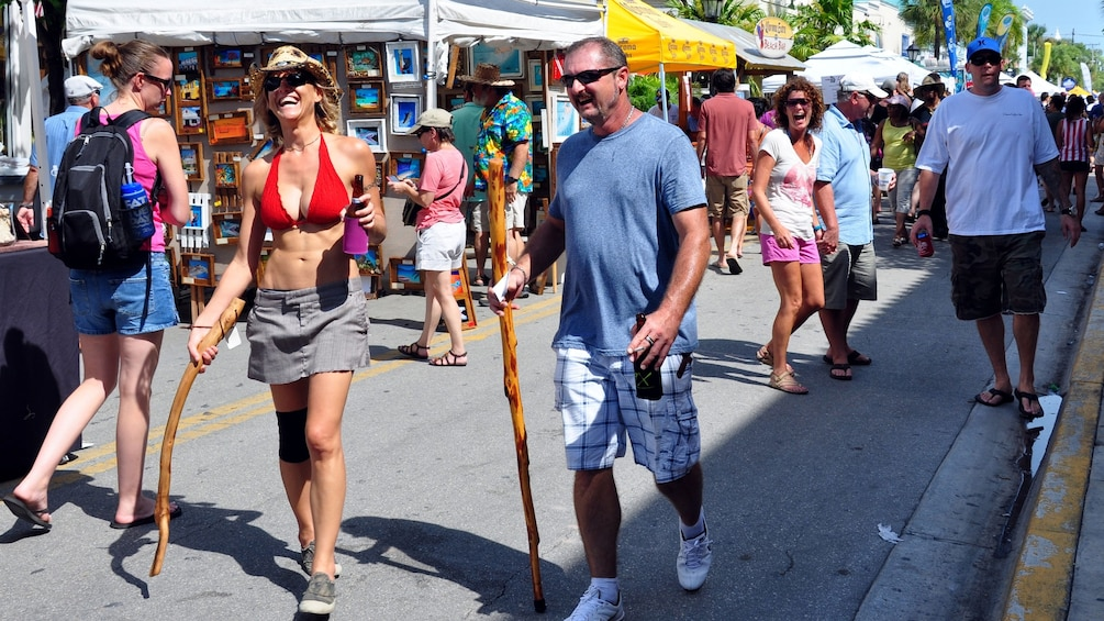 Exploring a street market in Miami