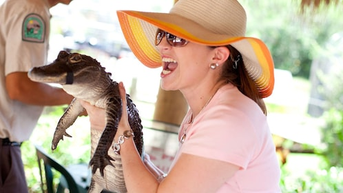 Woman holding a baby alligator