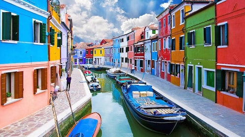 Colorful houses on a small canal in Venice