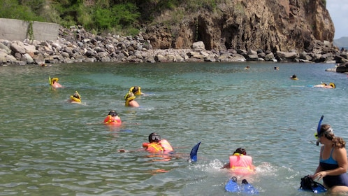 Snorkeling group near the shore in St Kitts