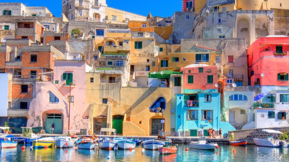 Colorful buildings and boats in Naples