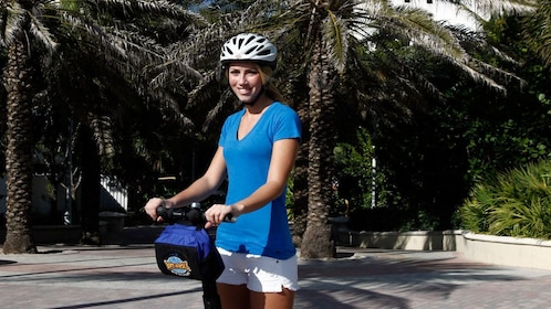 Closeup of woman on Segway in Miami's South Beach