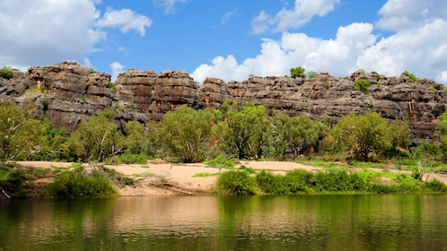 Reflection of rock formation in the Windjana Gorge.