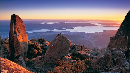 beautiful sunset view above town of Hobart