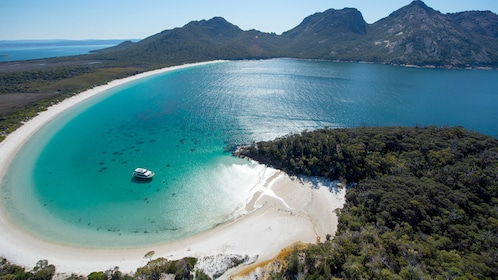 Aerail of the cruise ship on the Freycinet and Wineglass Bay Cruise in Australia.