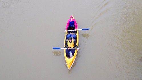 Aerial view of couple canoeing on the Murray River in Australia.