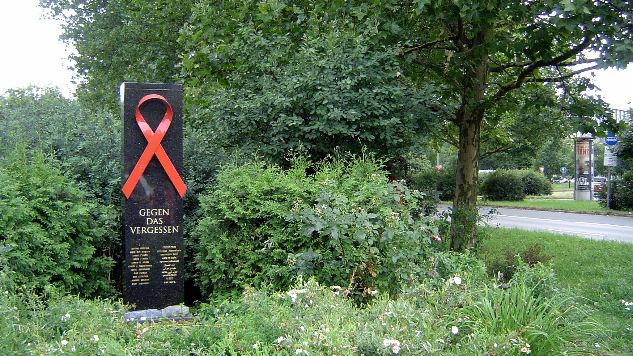 Red ribbon memorial in a park in Berlin