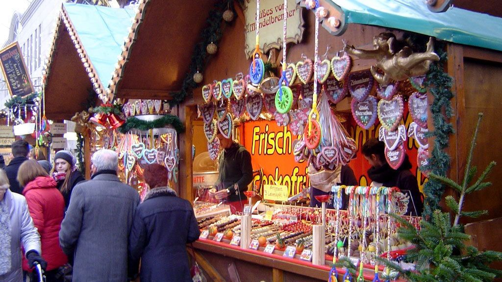 Stand selling assortments of candy at the christmas market in Berlin