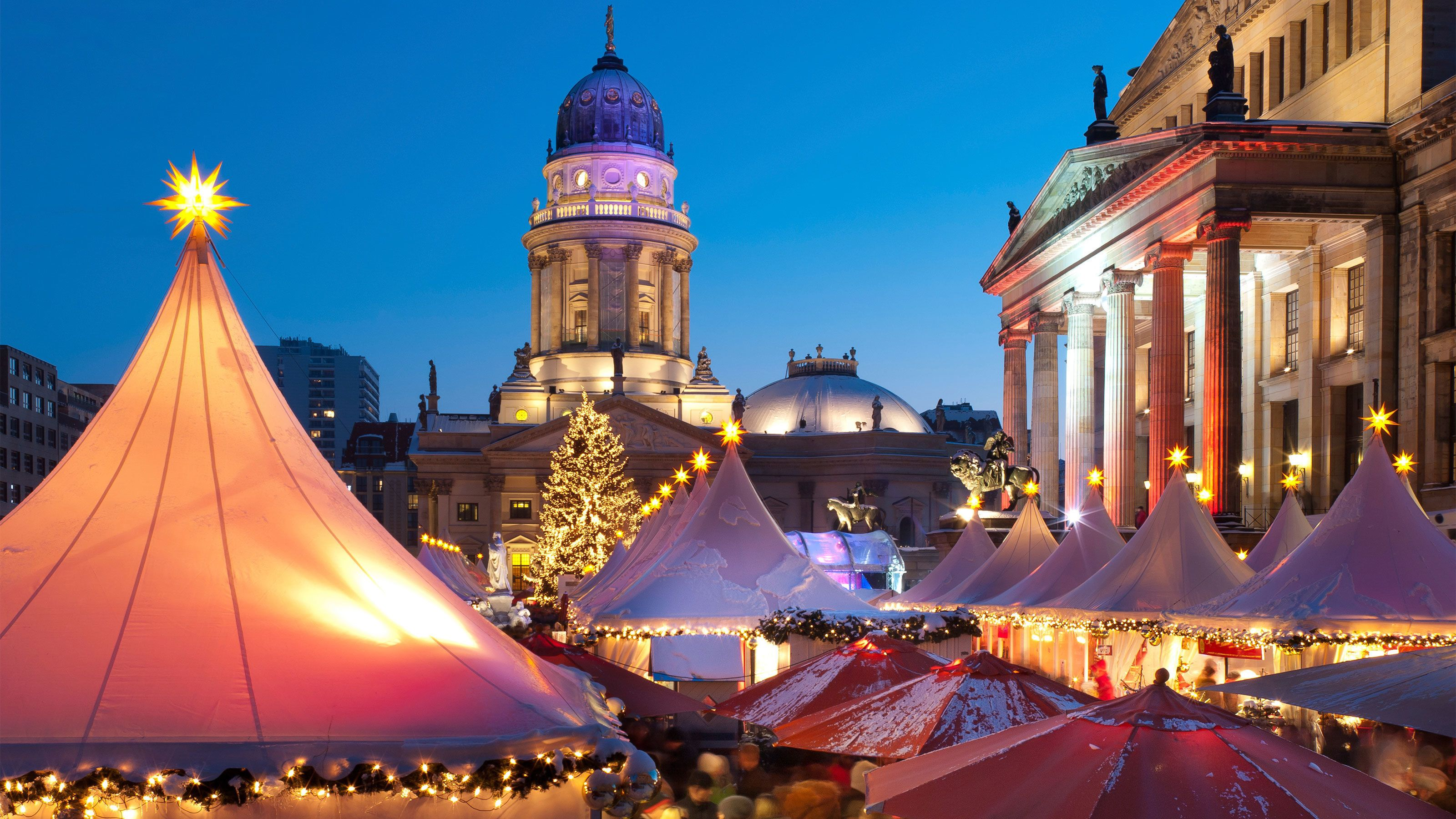 Tents of the Christmas market at night in Berlin